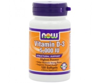 Vitamina D3 - 5,000 IU - Now Foods 120 softgels