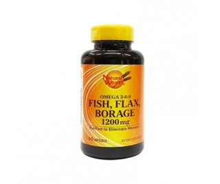Omega 3-6-9 Fish, Flax, Borage - Natural Wealth - 60 softgels