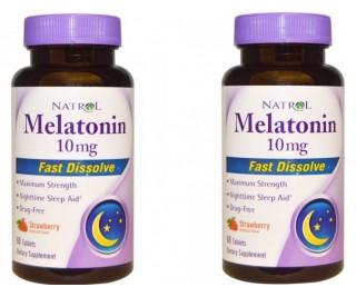 Combo - Melatonina 10mg Natrol - 120 Tabletes Mastigáveis (Sabor Morango)
